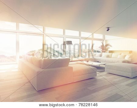 Modern Living Room Area Near Glass Windows Inside Architectural House Illuminated by Sunlight. 3D Rendering.