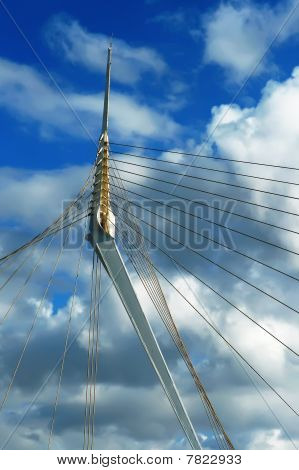 Fragment Of A Modern Rope Suspension Bridge.