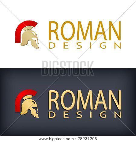 Greek or Roman antique helmet logo