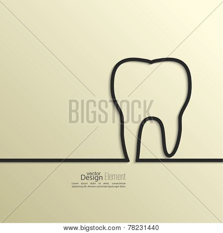 Ribbon in the form of tooth with shadow and space for text.