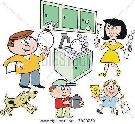 Family in kitchen cartoon