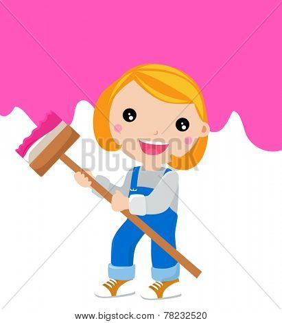 Little artist - cute child painting on the Wall. Vector