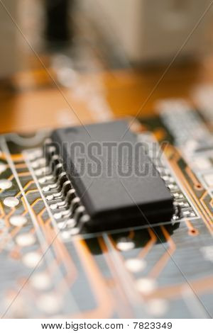 Computer Circuit Board With Microchip