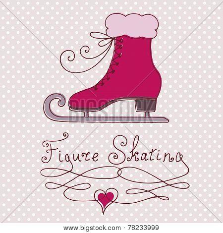 Vintage greeting card with skate