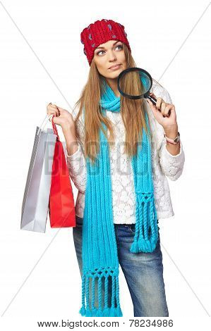 Winter shopping search concept