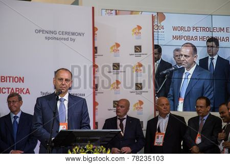 MOSCOW, RUSSIA, JUNE, 16: Chairman Sinara D. Pumpyanskiy . 21st WPC, June, 16, 2014 at Crocus Expo  in Moscow, Russia