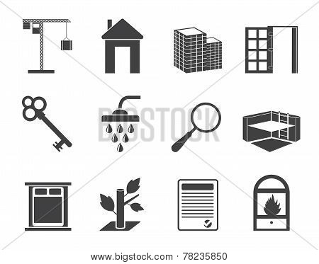 Silhouette Simple Real Estate icons
