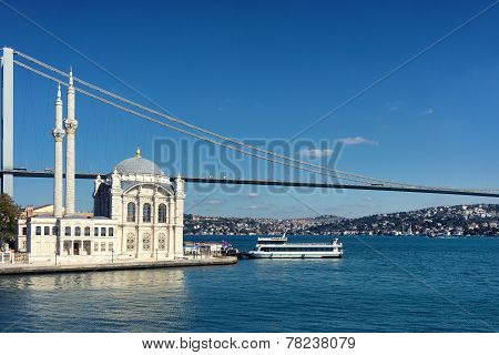 Mosque And The Bridge On The Bosphorus Strait