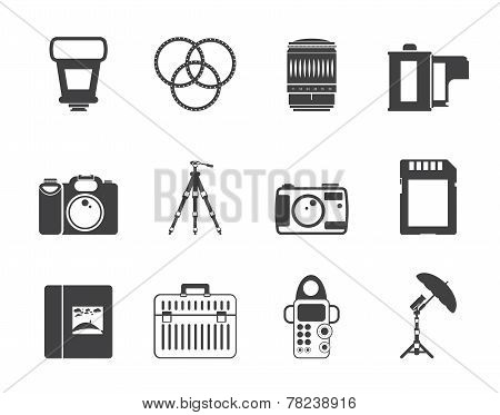 Silhouette Photography equipment icons