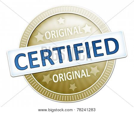 An image of a useful original certified button