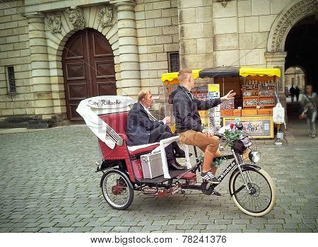 Man In Rickshaw Tour Of Dresden