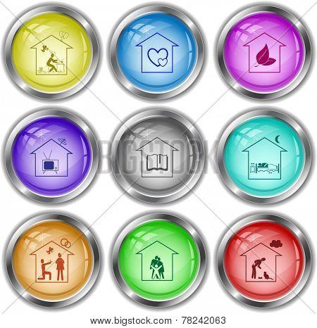Home set. Vector internet buttons.