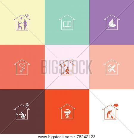 Home set. Flat color vector icons.