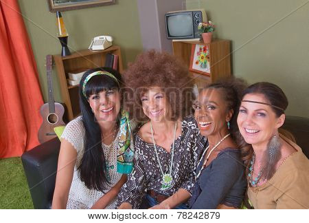 Group Of Four Smiling Ladies