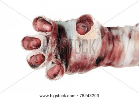 Hand of mummy isolated on white