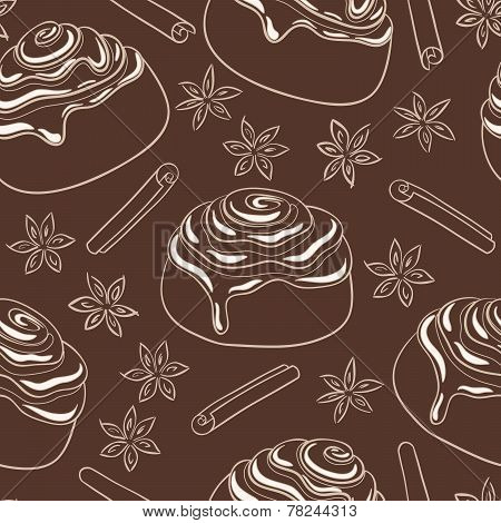 Seamless pattern with cinnamon rolls with frosting and spice