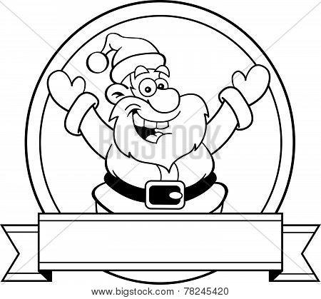 Cartoon Santa Claus with a banner.