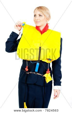 Stewardess In A Life Jacket