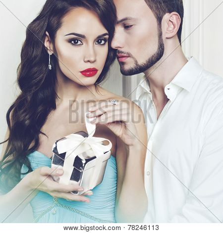 Romantic Couple With Gift