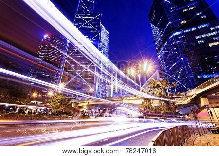 night scene of modern city, China Hong Kong