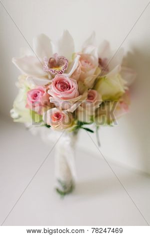 Wedding Bouquet  With Orchids And Roses