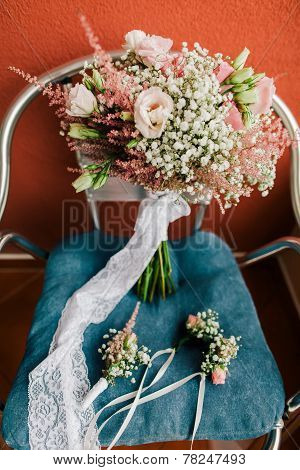 Wedding Bouquet And Boutonniere