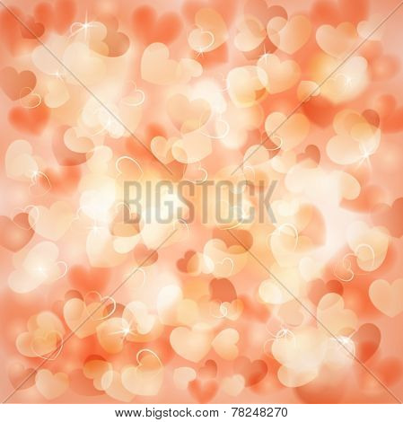 Background With Hearts Color Of A Peach
