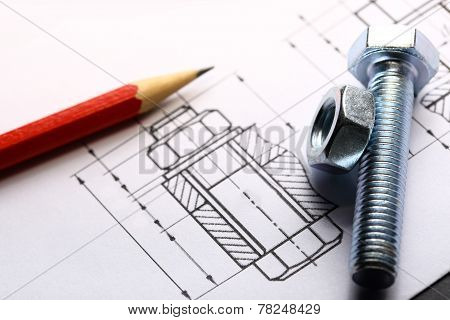 Drafting, Screw Bolt With Nut