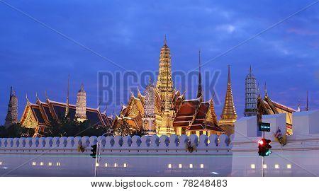 Wat pra kaew, Grand palace with night time ,Bangkok,Thailand