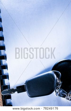 Blank Notebook And Car Key