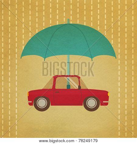 Vintage car under umbrella