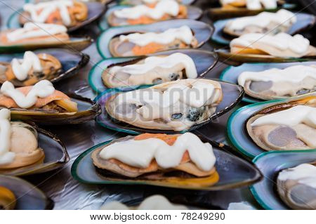 Background Of Clams In Shells