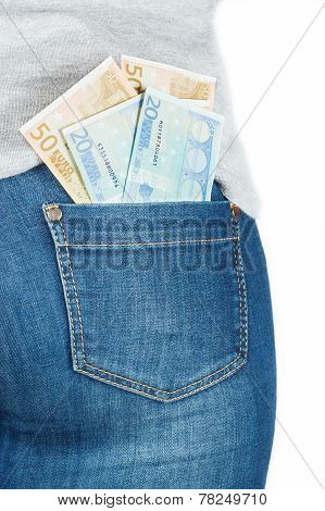 Euro. Paper Money In The Pocket Of Jeans.