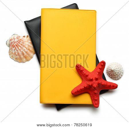 Seastar And Seashells On Notebook