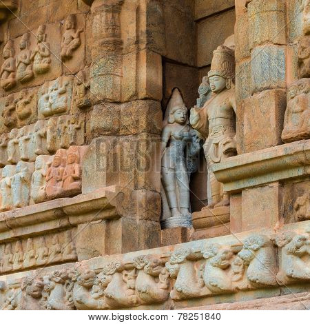 Part Of Wall Great Architecture Ancient Gangaikonda Cholapuram Temple, India, Tamil Nadu, Thanjavur