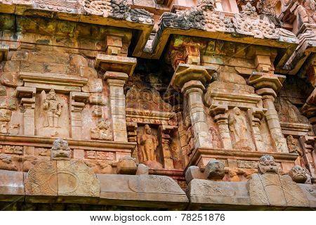 Detail Of Wall Great Architecture Ancient Gangaikonda Cholapuram Temple, India, Tamil Nadu, Thanjavu