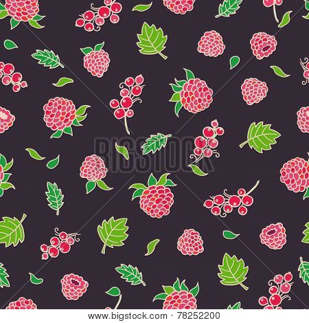 Hand drawing of red berries. Seamless pattern. Raspberries and currant.