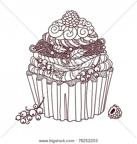 Drawing of cupcake decorated with berries. Outlines.