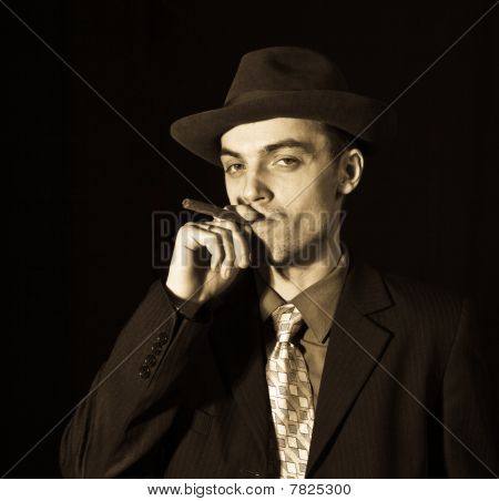 Old Style Young Man With Cigar
