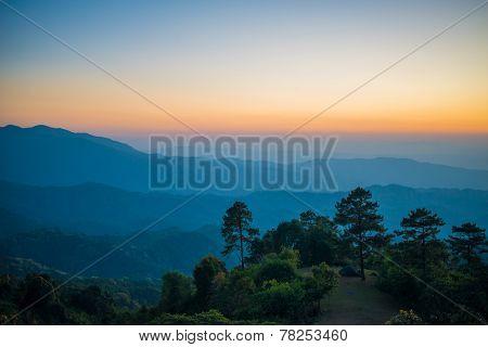 Beautiful sunset nature background Mountains and sky ,huai nam dang national park