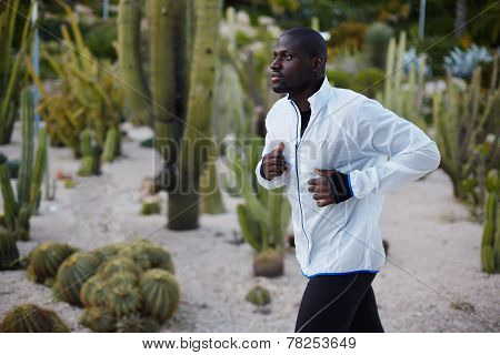 Young fit man in white windbreaker running fast in beautiful park autumn sport outdoors