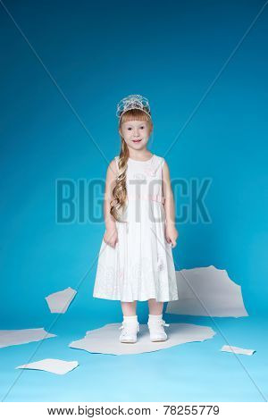 Little girl floating on ice floe