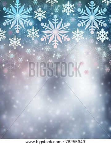 Beautiful snowflakes border on blurry background, cute Christmas greeting card with copy space, festive wintertime decoration