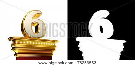 Number Six on a golden platform with brilliant lights over white background with alpha map