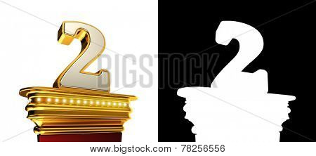 Number Two on a golden platform with brilliant lights over white background with alpha map