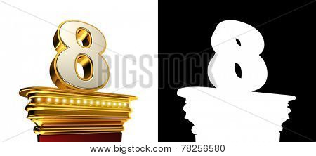 Number Eight on a golden platform with brilliant lights over white background with alpha map