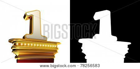 Number One on a golden platform with brilliant lights over white background with alpha map