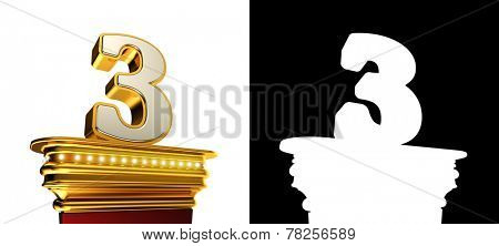 Number Three on a golden platform with brilliant lights over white background with alpha map