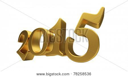 New 2015 Year 3d text on white background