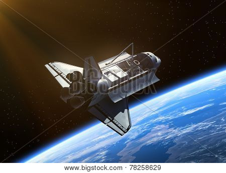 Space Shuttle Orbiting Earth.
